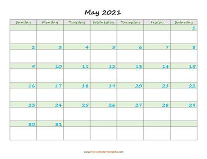 may 2021 calendar daycolored horizontal