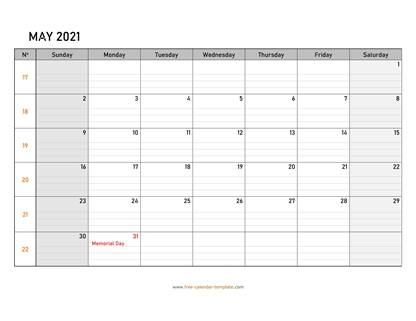 may 2021 calendar daygrid horizontal