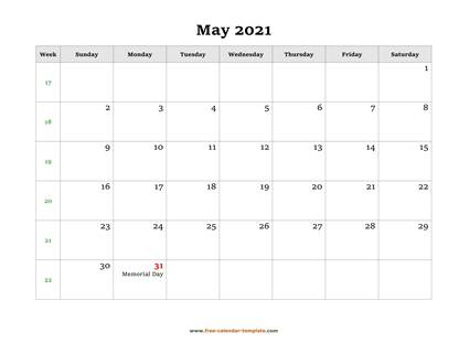 may 2021 calendar holidays horizontal