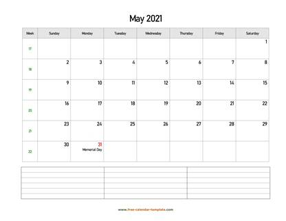may 2021 calendar notes horizontal