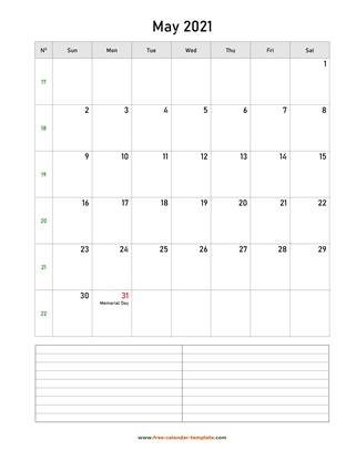 may 2021 calendar notes vertical