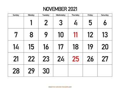 november 2021 calendar bigfont horizontal