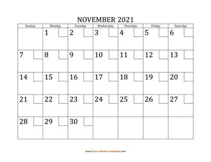 november 2021 calendar checkboxes horizontal