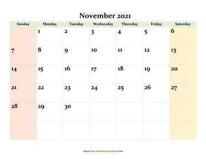 november 2021 calendar colored horizontal