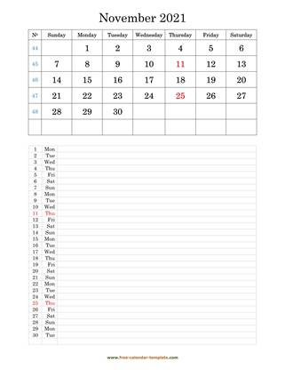 november 2021 calendar daily notes vertical