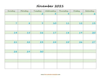 november 2021 calendar daycolored horizontal