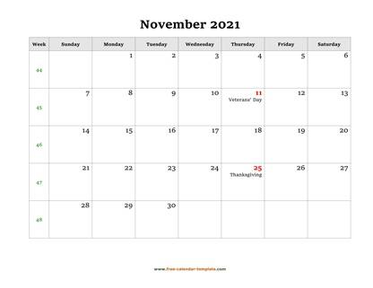 november 2021 calendar holidays horizontal