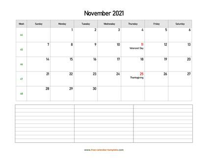 november 2021 calendar notes horizontal