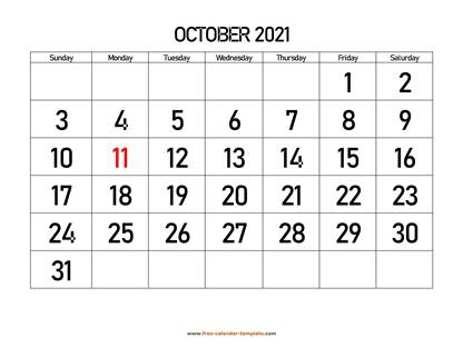 october 2021 calendar bigfont horizontal