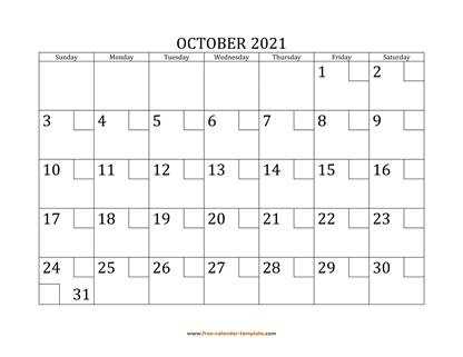 october 2021 calendar checkboxes horizontal
