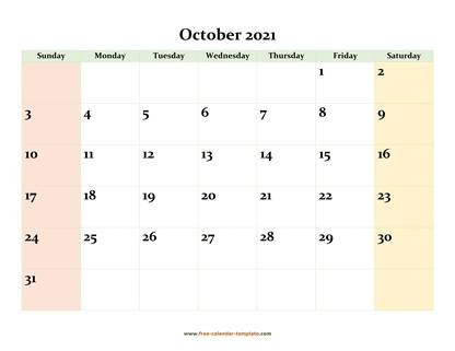 october 2021 calendar colored horizontal