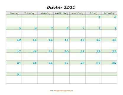 october 2021 calendar daycolored horizontal