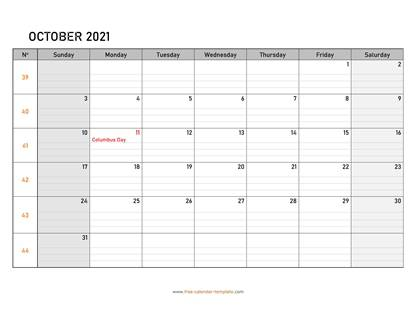 october 2021 calendar daygrid horizontal