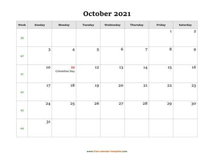october 2021 calendar holidays horizontal