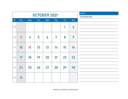 october 2021 calendar largenotes horizontal