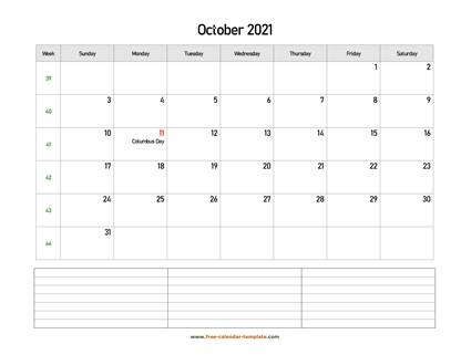 october 2021 calendar notes horizontal