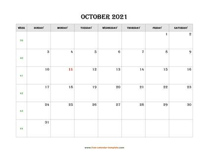 october 2021 calendar simple horizontal
