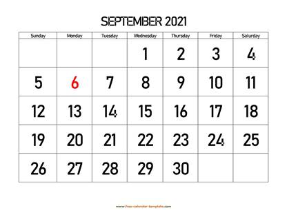september 2021 calendar bigfont horizontal