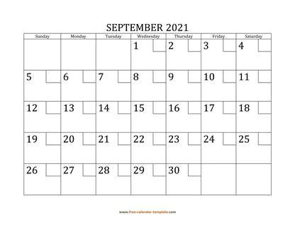september 2021 calendar checkboxes horizontal