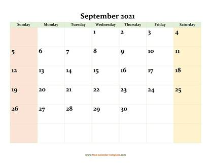 september 2021 calendar colored horizontal