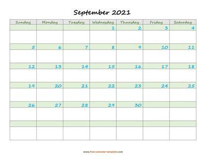 september 2021 calendar daycolored horizontal