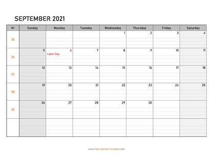 september 2021 calendar daygrid horizontal