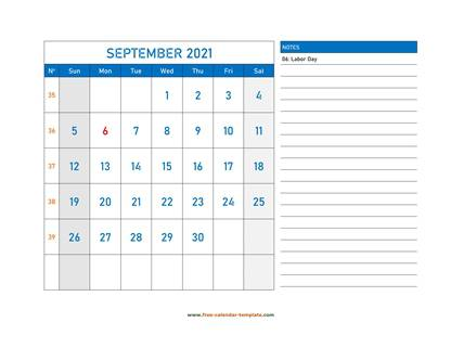 september 2021 calendar largenotes horizontal