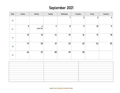 september 2021 calendar notes horizontal