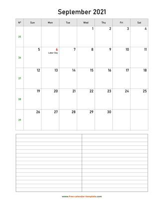 september 2021 calendar notes vertical