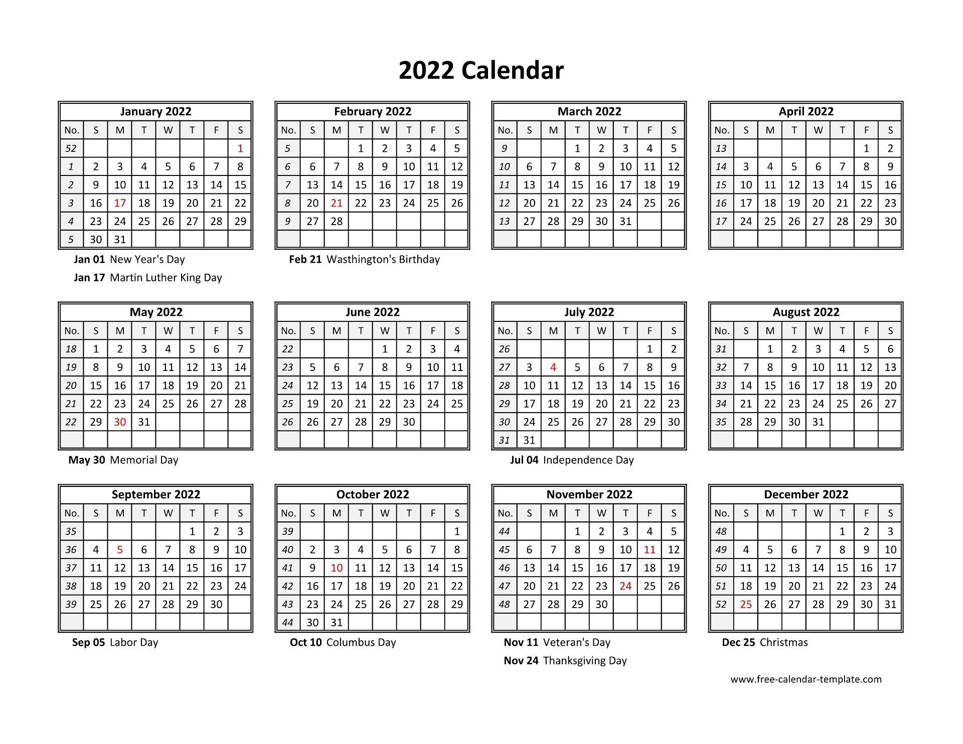 2022 Calendar By Month.Printable Yearly Calendar 2022 Free Calendar Template Com