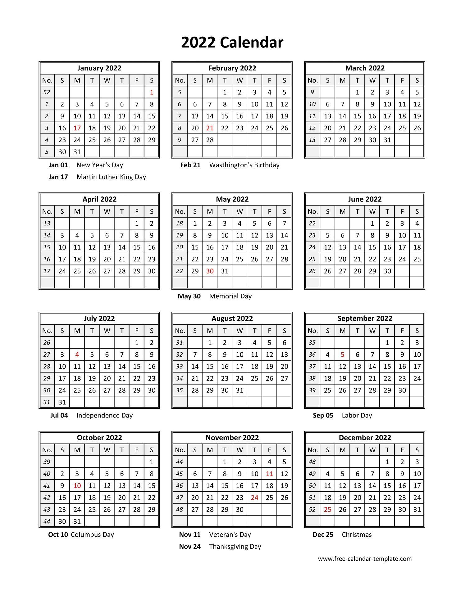 Vertical Calendar 2022.Yearly Printable Calendar 2022 With Holidays Free Calendar Template Com