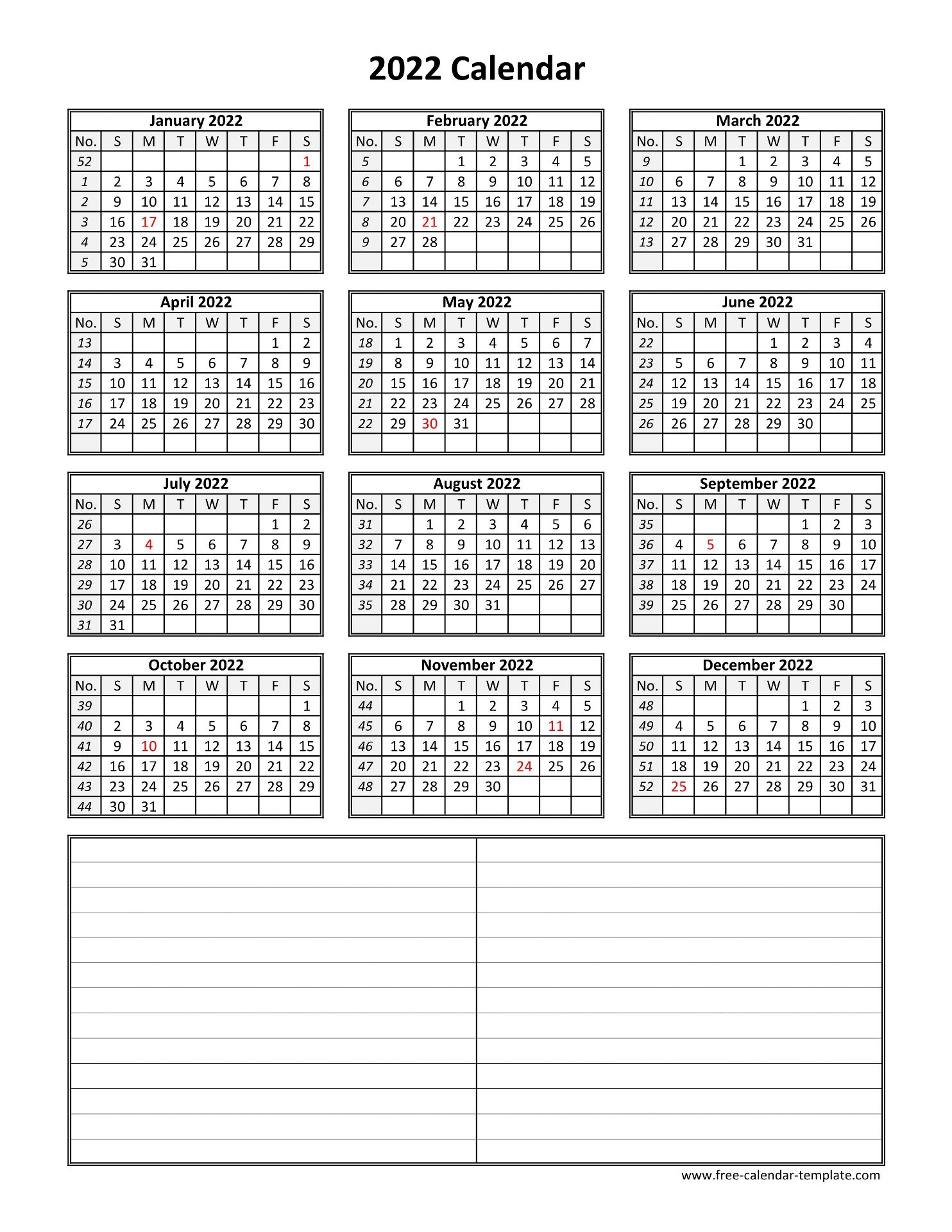 Vertical Calendar 2022.Yearly 2022 Printable Calendar With Space For Notes Free Calendar Template Com