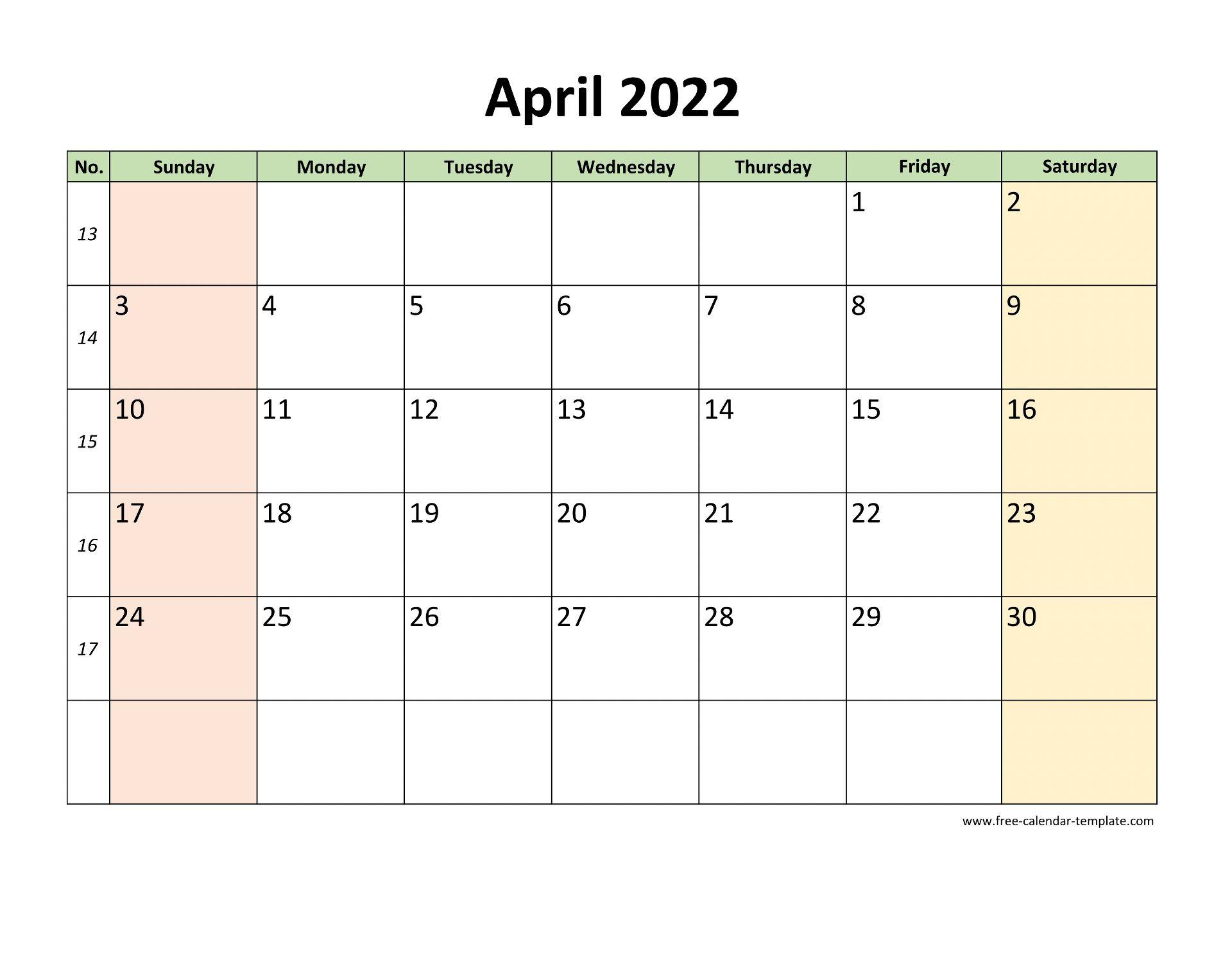 April 2022 Calendar Template.April 2022 Calendar Printable With Coloring On Weekend Horizontal Free Calendar Template Com