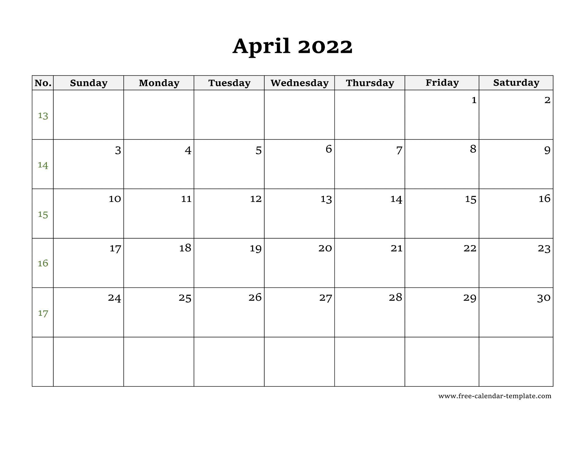 Apr 2022 Calendar.Simple April Calendar 2022 Large Box On Each Day For Notes Free Calendar Template Com