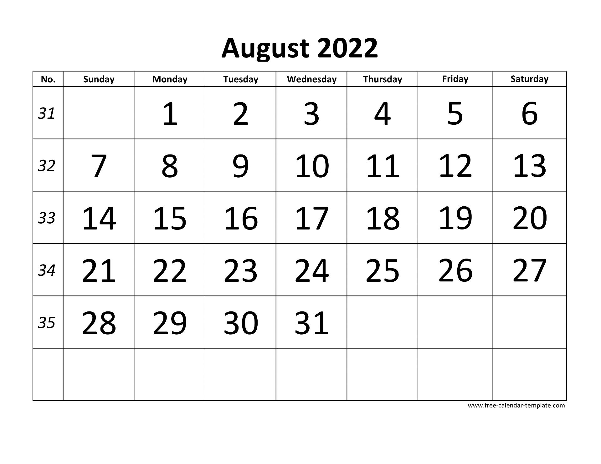 2022 August Calendar.August 2022 Calendar Designed With Large Font Horizontal Free Calendar Template Com
