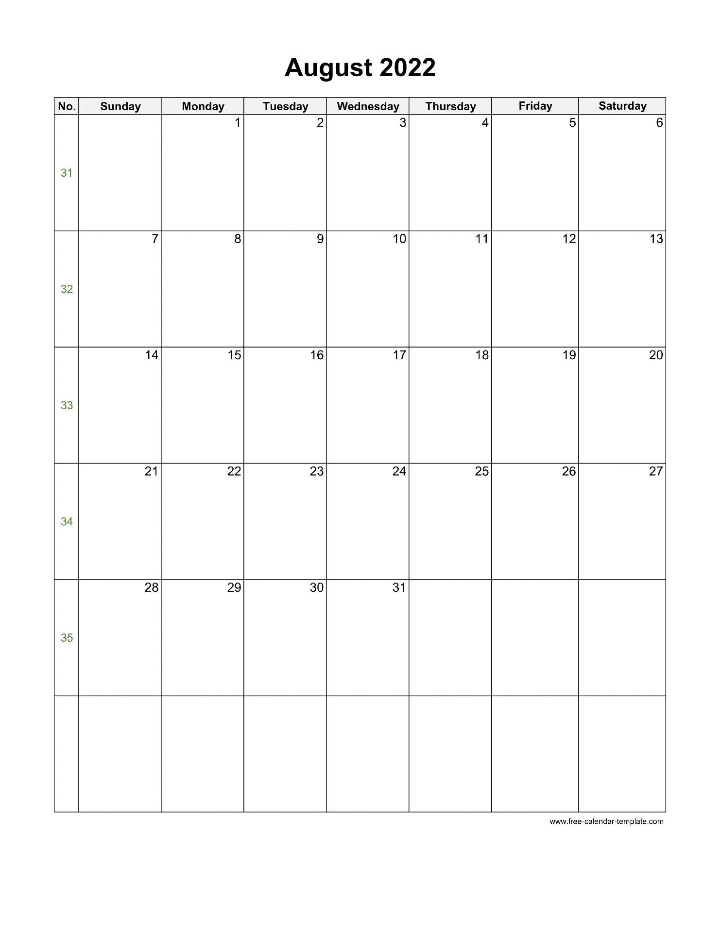 Blank Calendar 2022 August.2022 August Calendar Blank Vertical Template Free Calendar Template Com