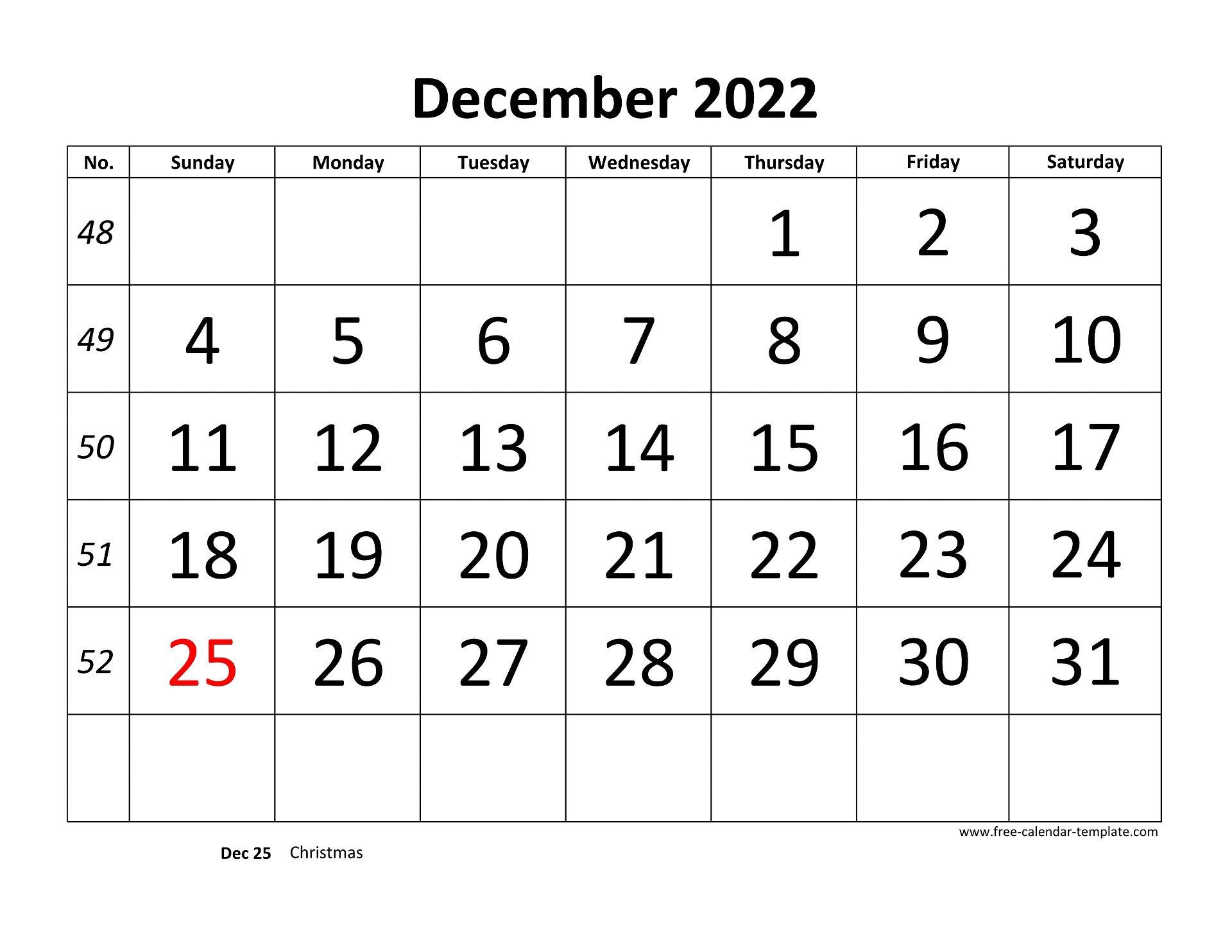 Calendar For December 2022.December 2022 Calendar Designed With Large Font Horizontal Free Calendar Template Com