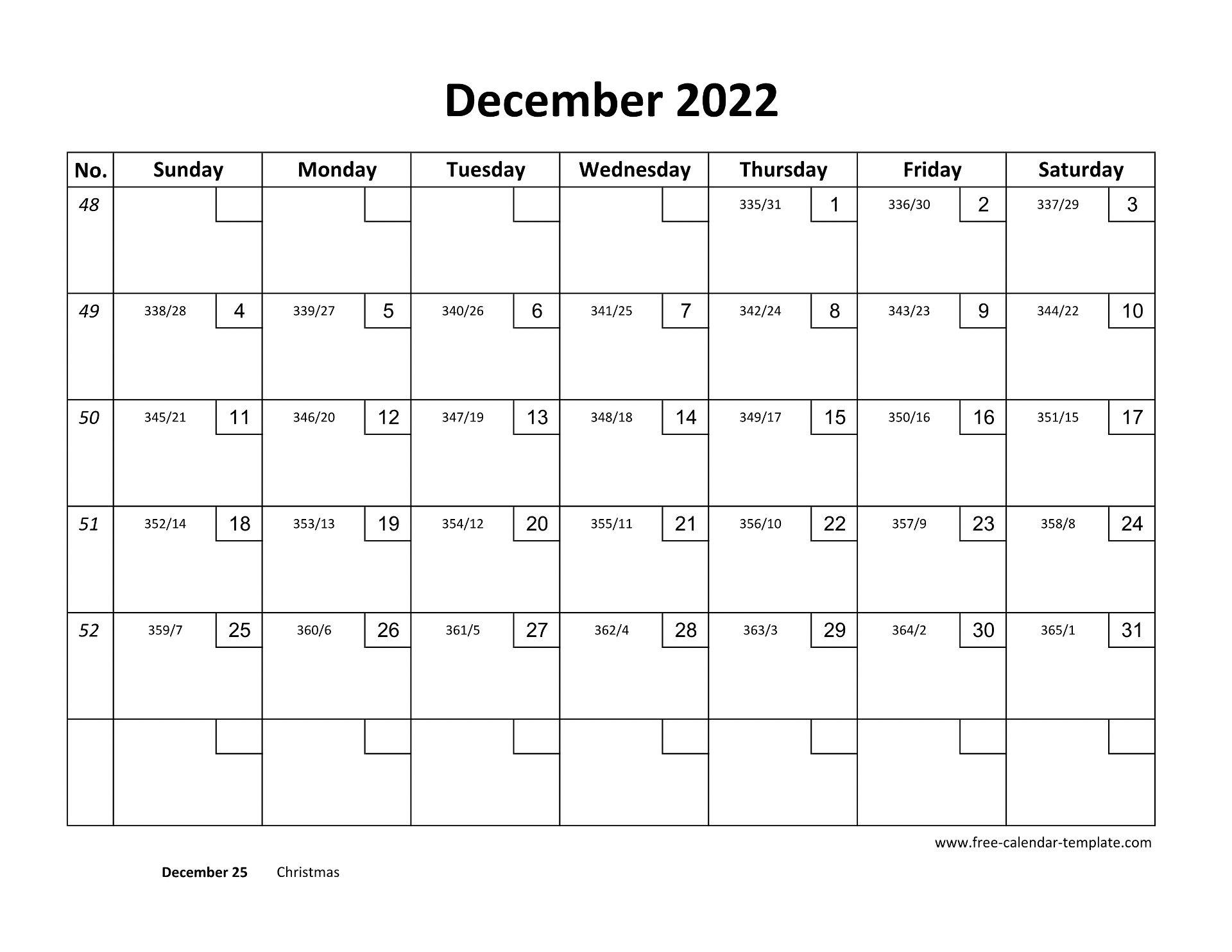 Dec Calendar 2022 Printable.December Calendar 2022 Printable With Checkboxes Horizontal Free Calendar Template Com