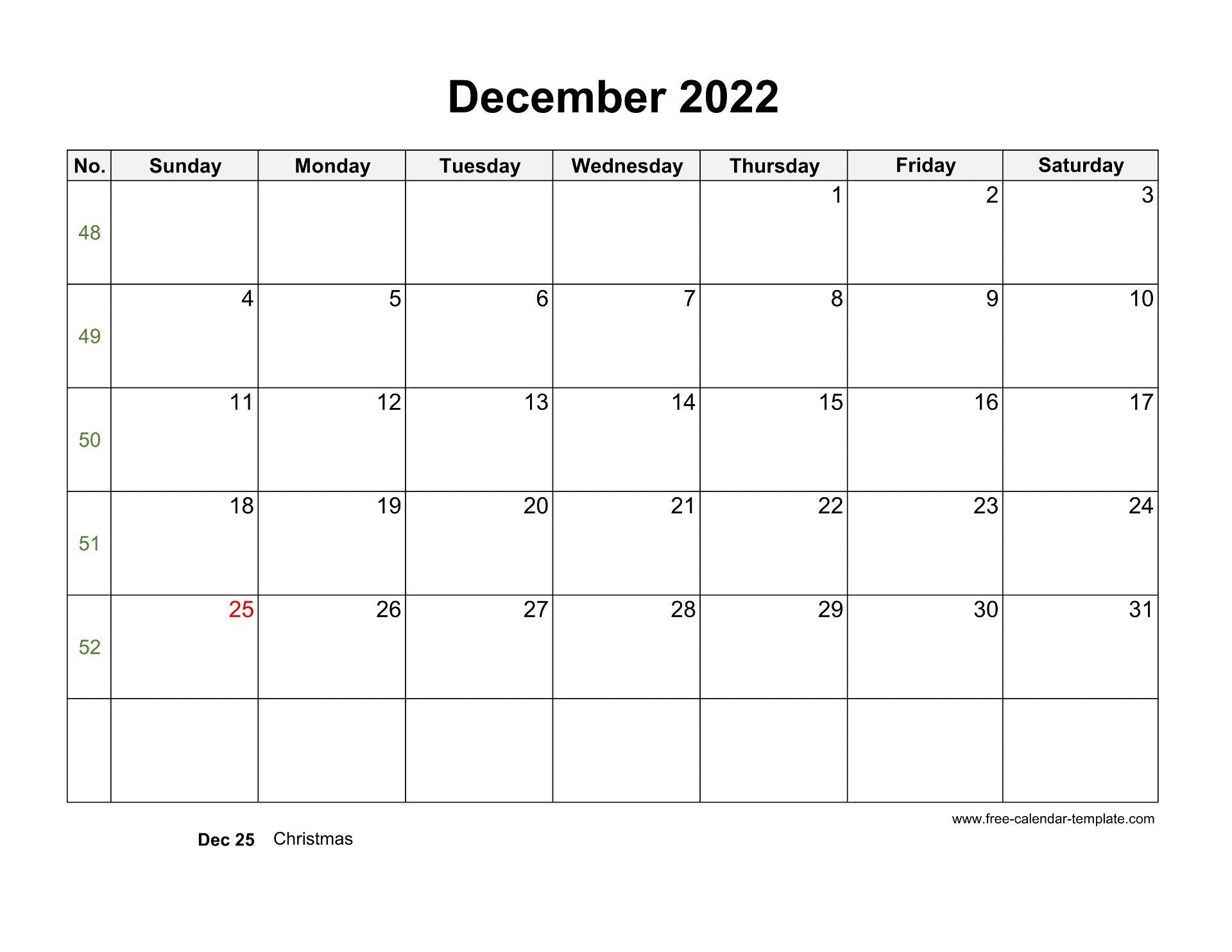 Free Printable December 2022 Calendar.Free 2022 Calendar Blank December Template Horizontal Free Calendar Template Com