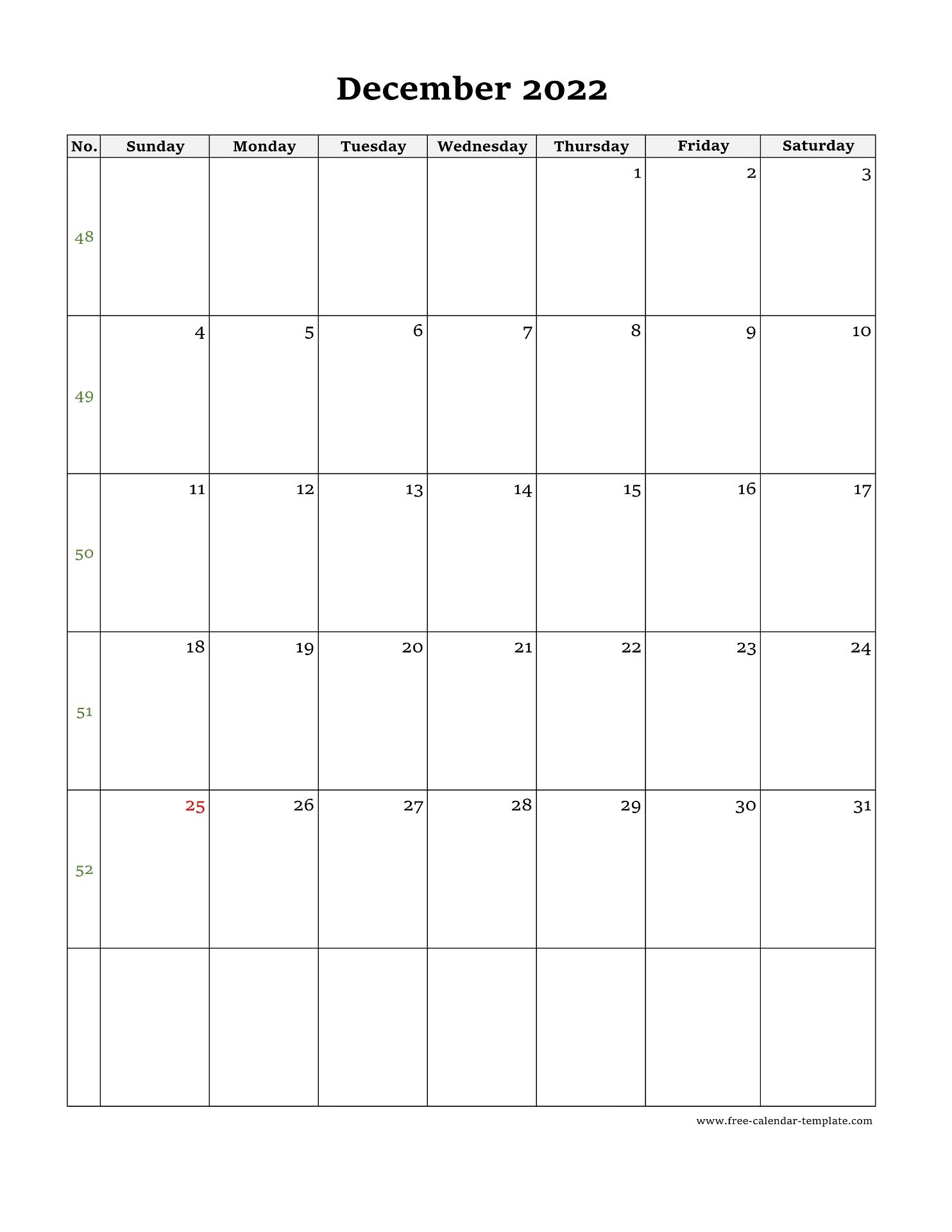 November December Calendar 2022.December Calendar 2022 Simple Design With Large Box On Each Day For Notes Free Calendar Template Com