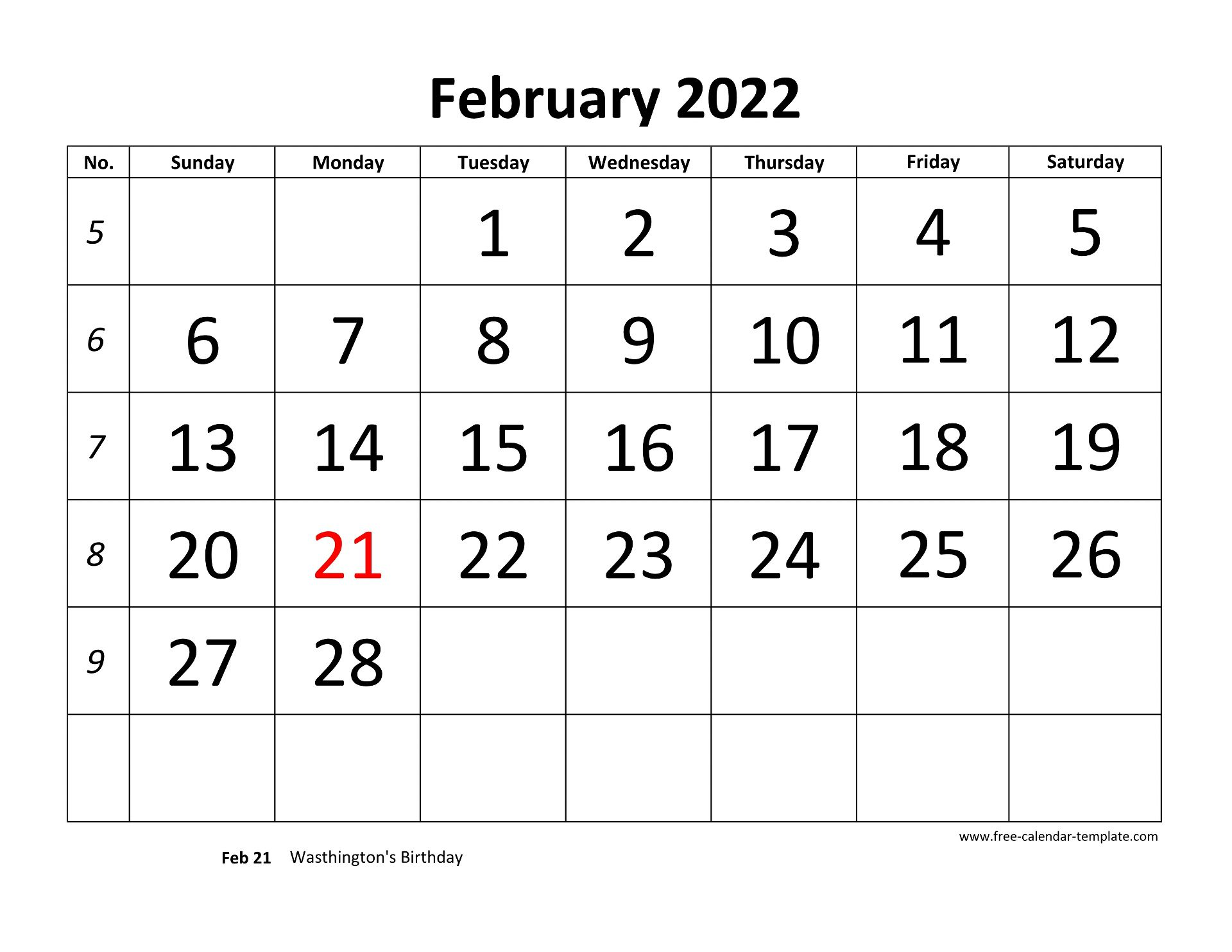February 2022 Calendar designed with large font ...