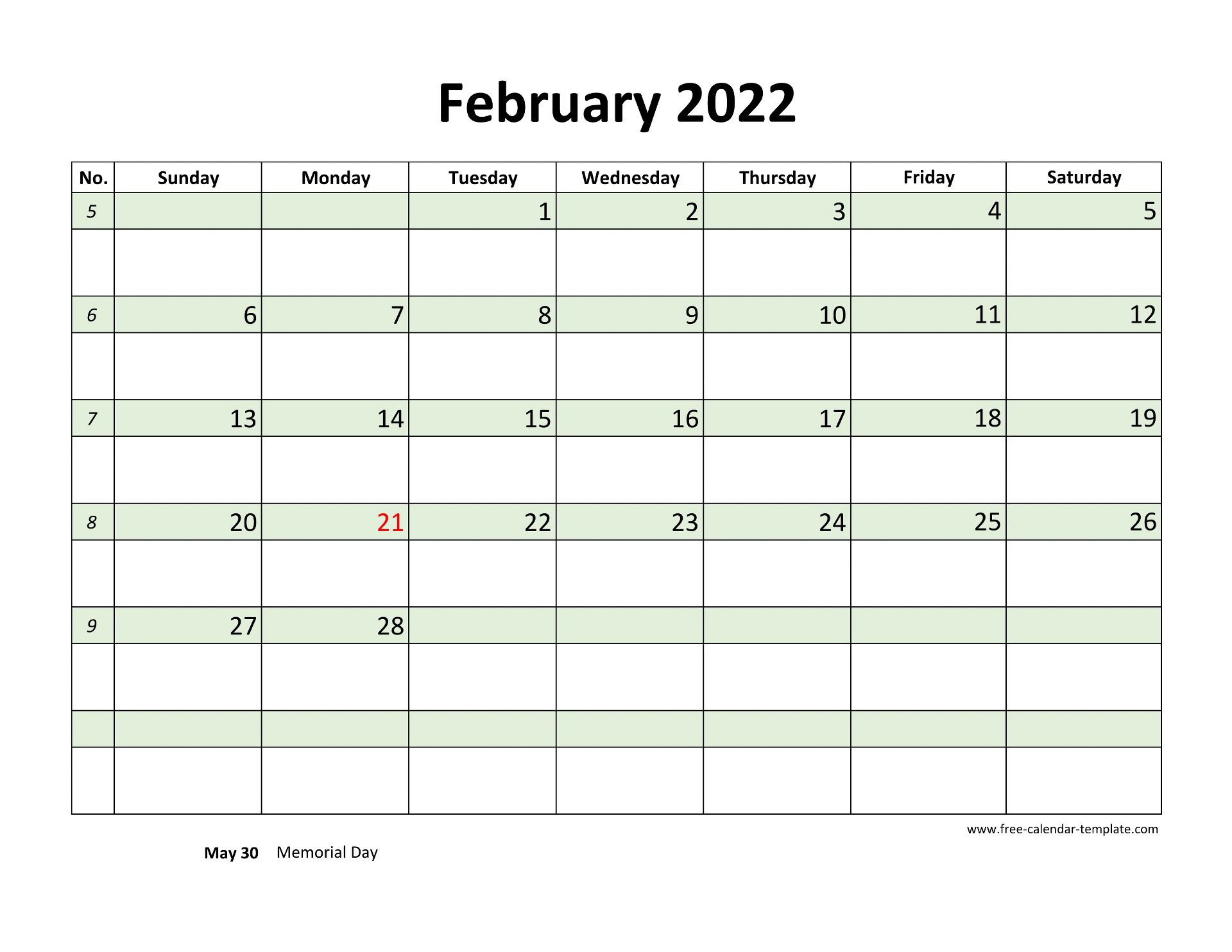 Free February 2022 Calendar, coloring on each day ...