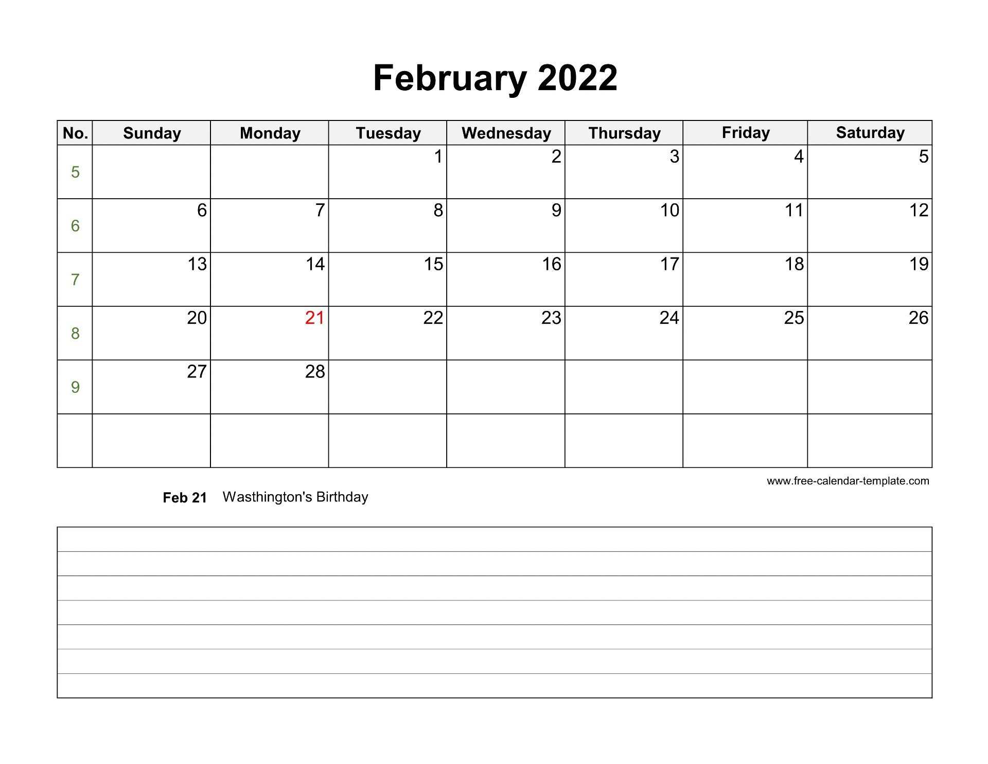 2022 Printable February Calendar With Space For Appointments Horizontal Free Calendar Template Com