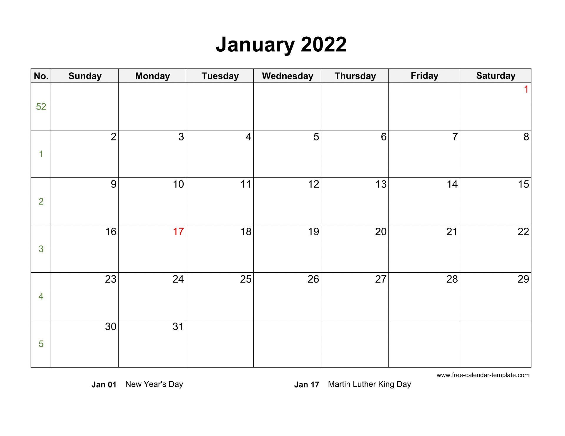 January 2022 Calendar Holidays.Free 2022 Calendar Blank January Template Horizontal Free Calendar Template Com