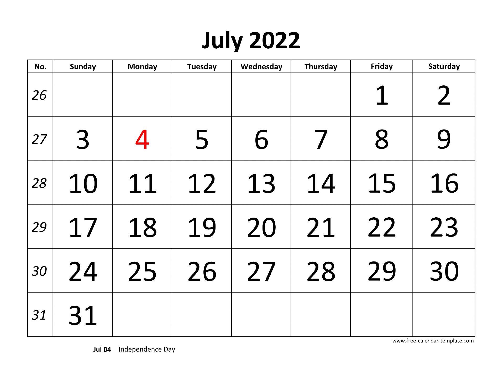 July 4 2022 Calendar.July 2022 Calendar Designed With Large Font Horizontal Free Calendar Template Com