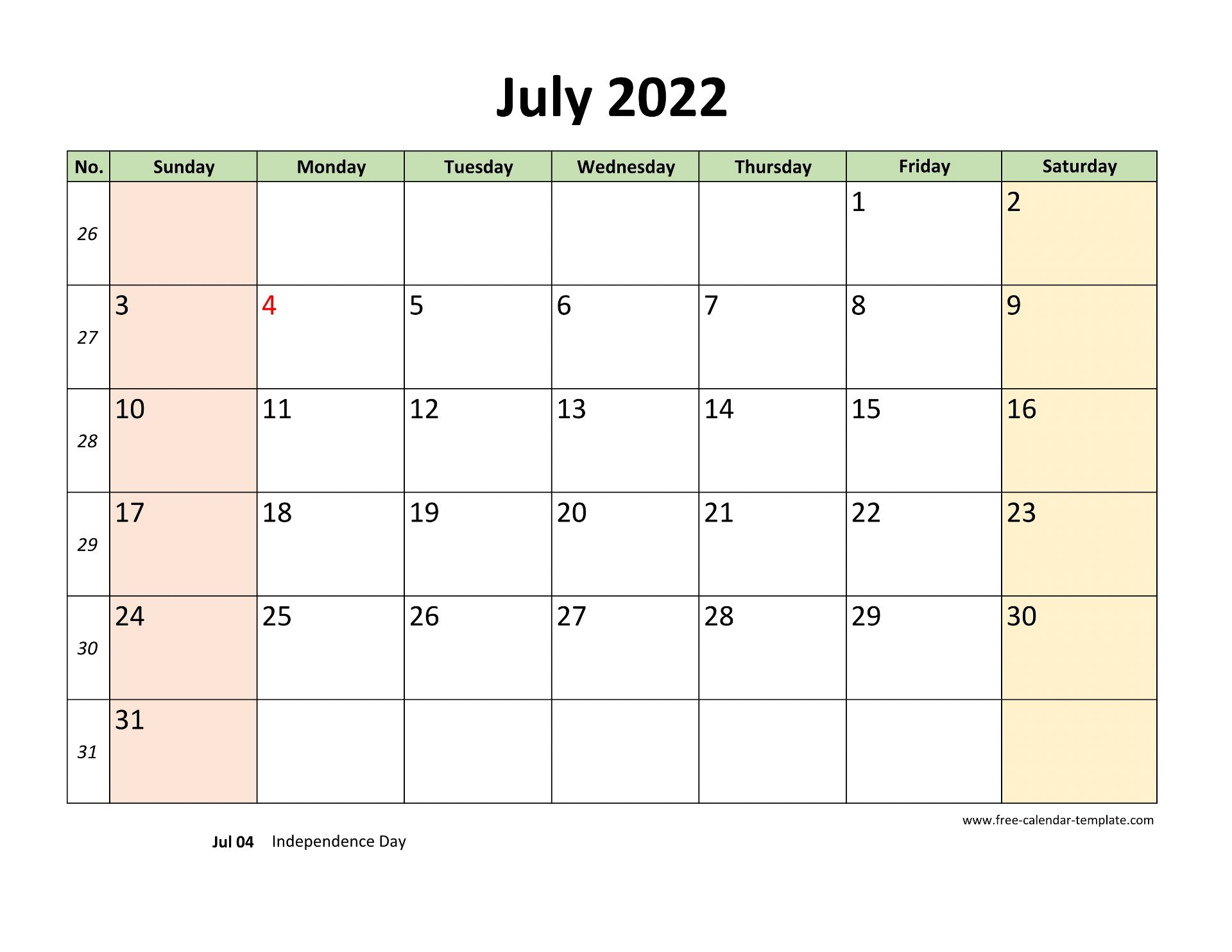 June July 2022 Calendar.July 2022 Calendar Printable With Coloring On Weekend Horizontal Free Calendar Template Com