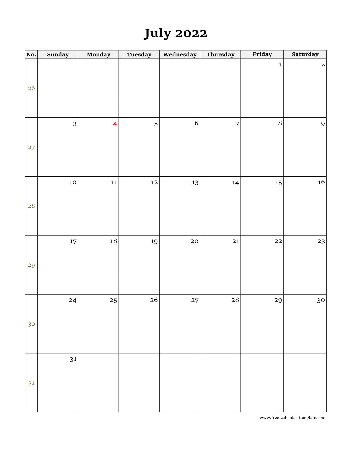 June July 2022 Calendar.July Calendar 2022 Simple Design With Large Box On Each Day For Notes Free Calendar Template Com