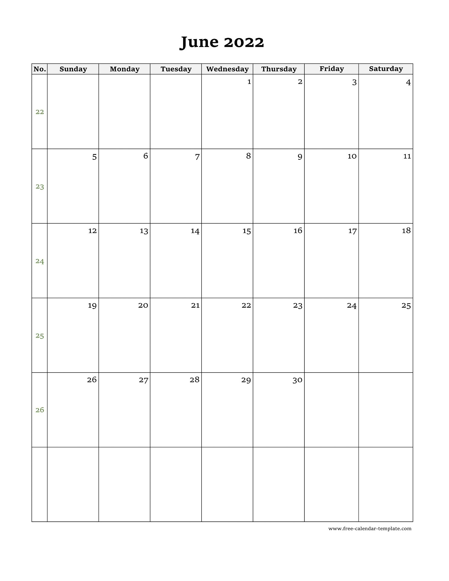 May June Calendar 2022.June Calendar 2022 Simple Design With Large Box On Each Day For Notes Free Calendar Template Com
