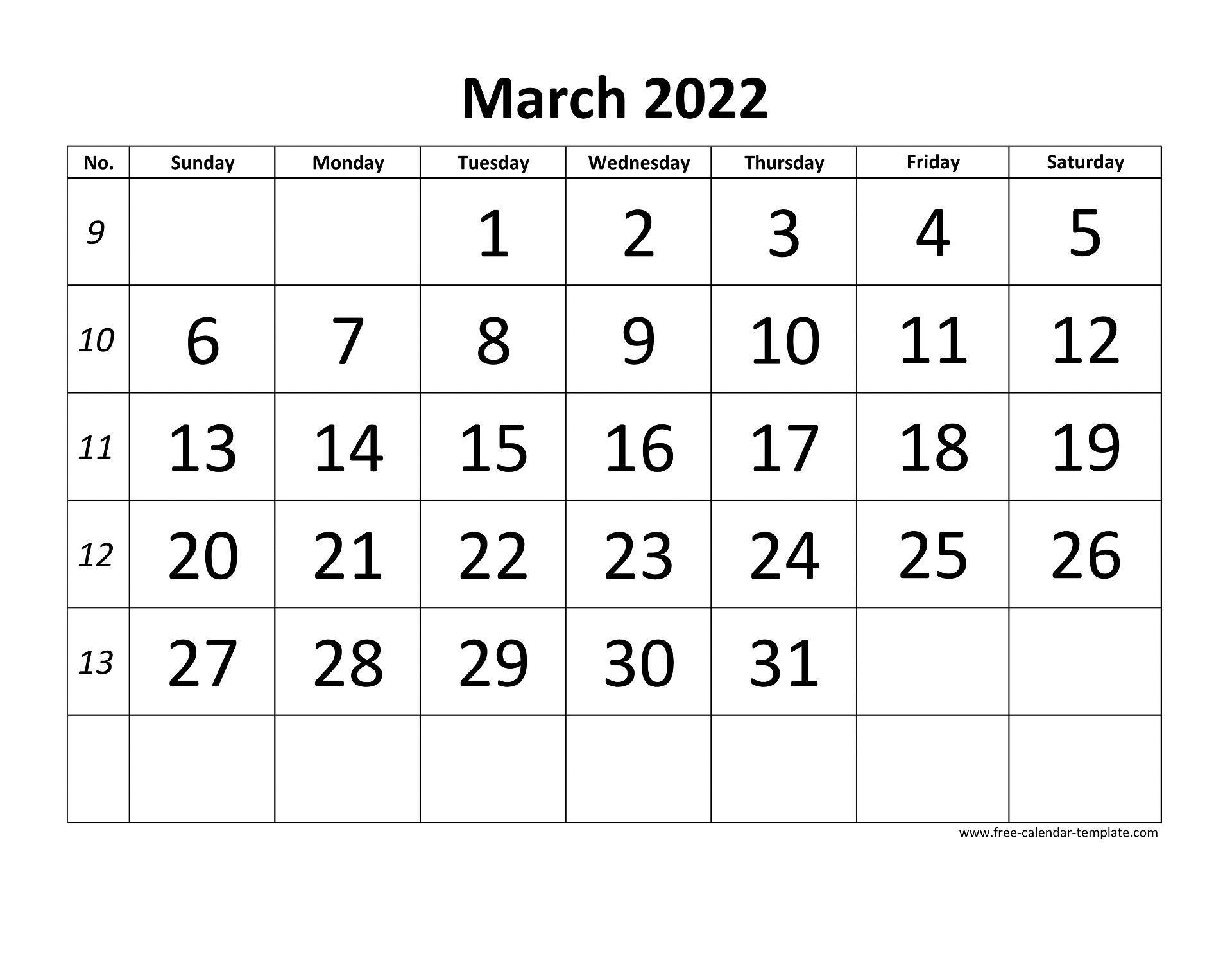 Calendar Template March 2022.March 2022 Calendar Designed With Large Font Horizontal Free Calendar Template Com