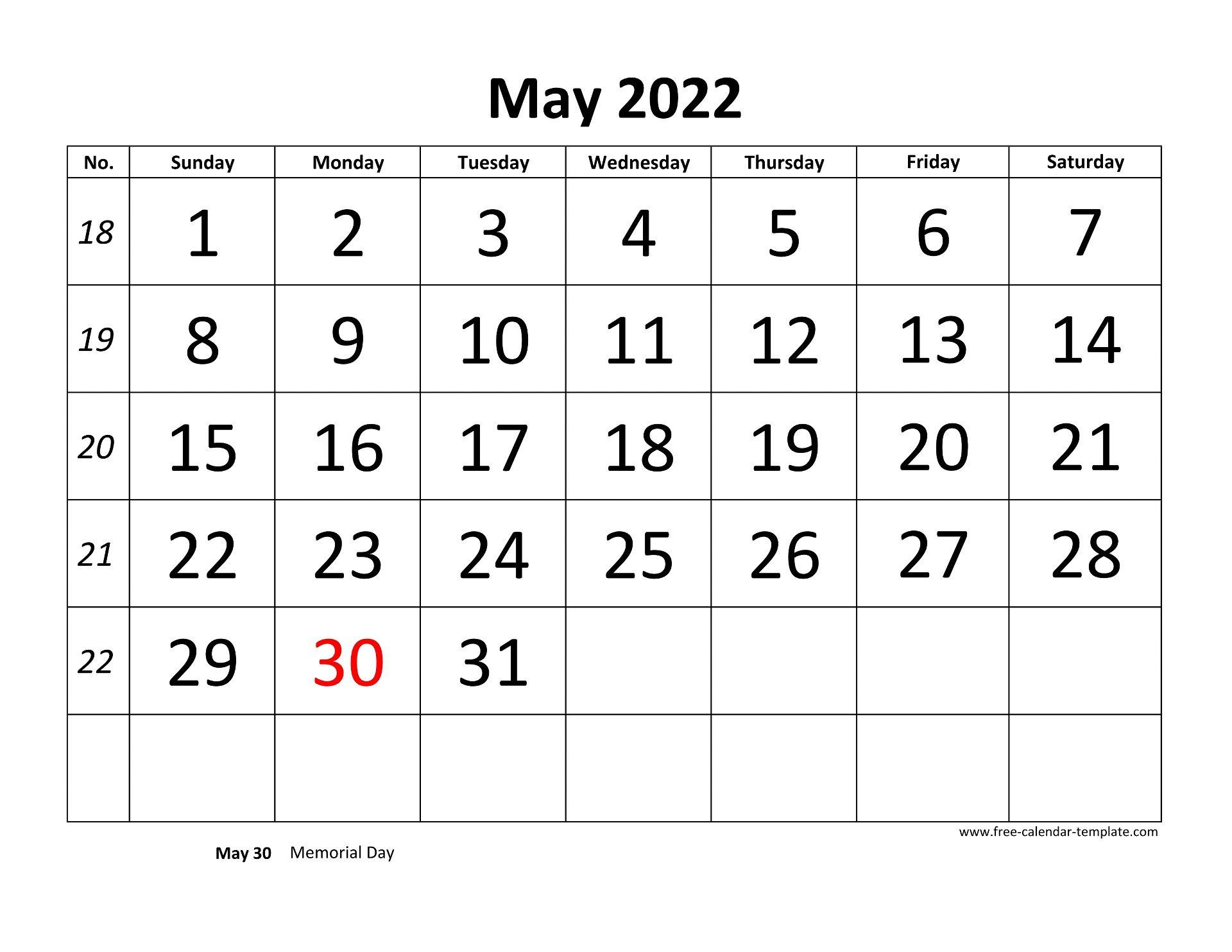April May 2022 Calendar.May 2022 Calendar Designed With Large Font Horizontal Free Calendar Template Com